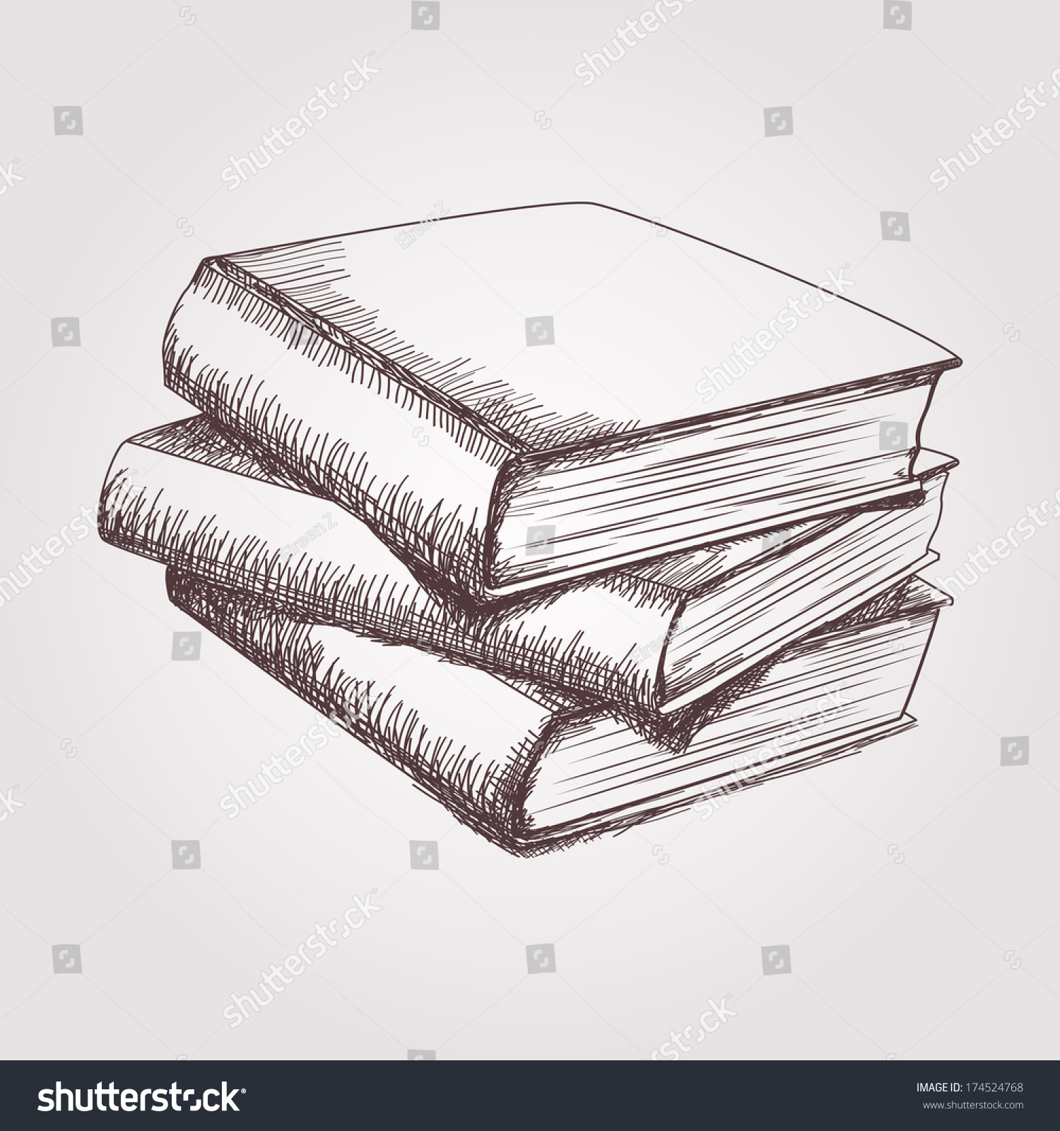 Vector Sketch Books Stack Stock Vector 174524768 ...
