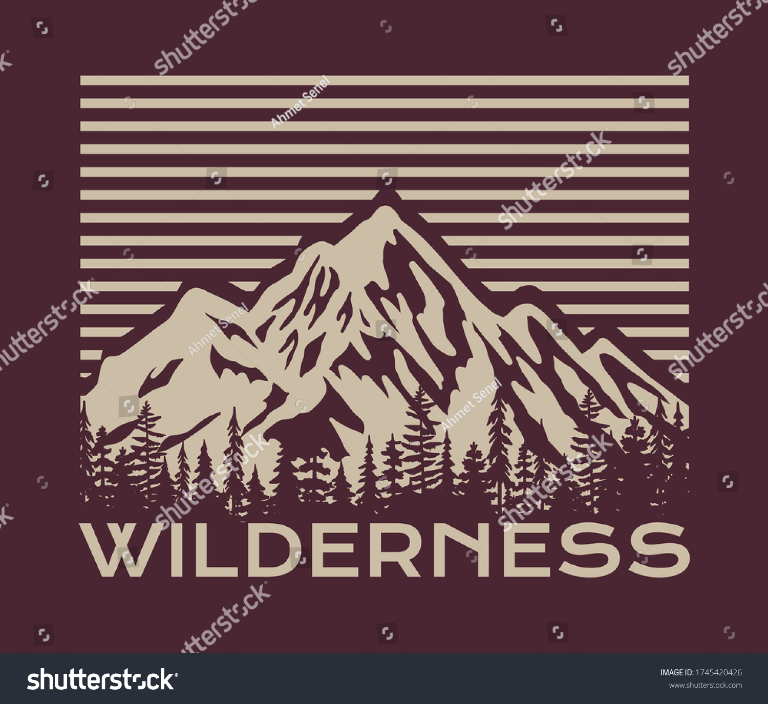 Vintage Outdoor Mountain Illustration with Wilderness Slogan Vector Artwork for T-shirt Print And Other Uses #1745420426