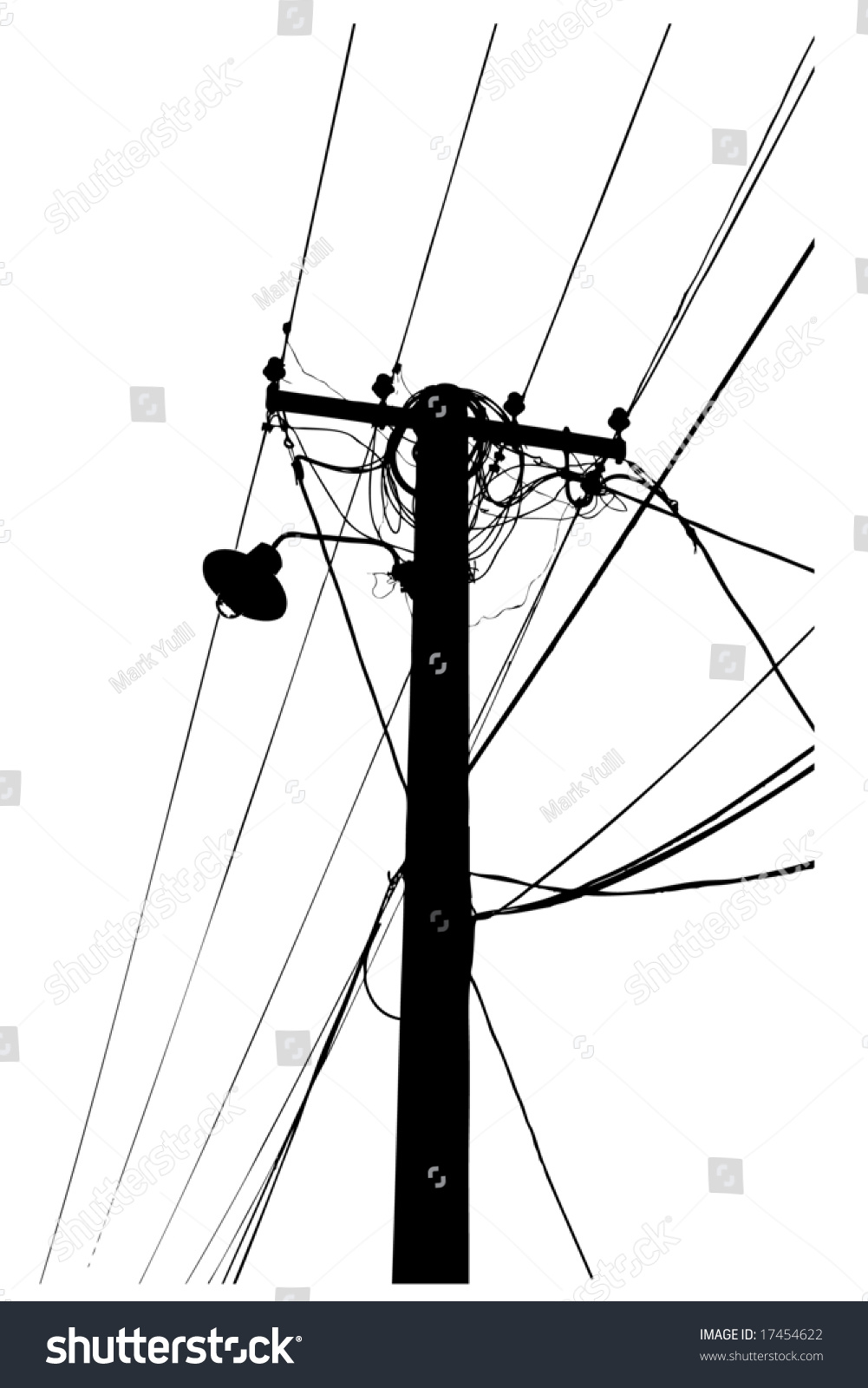 Overhead Electric Cable : Silhouette vector trace overhead electrical power stock