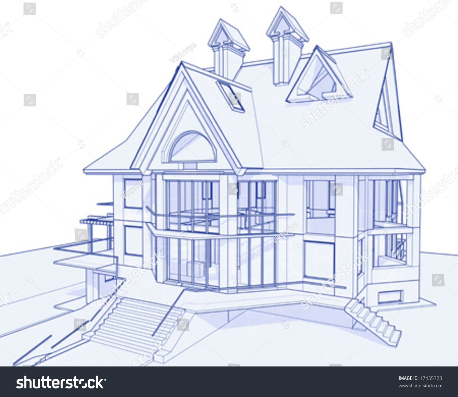 3d blueprint house vector technical draw 3d blueprint house vector technical draw stock vector 17455723