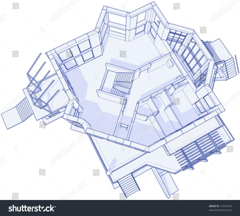 3d blueprint house vector technical draw vectores en stock 17455744 3d blueprint house vector technical draw malvernweather Choice Image