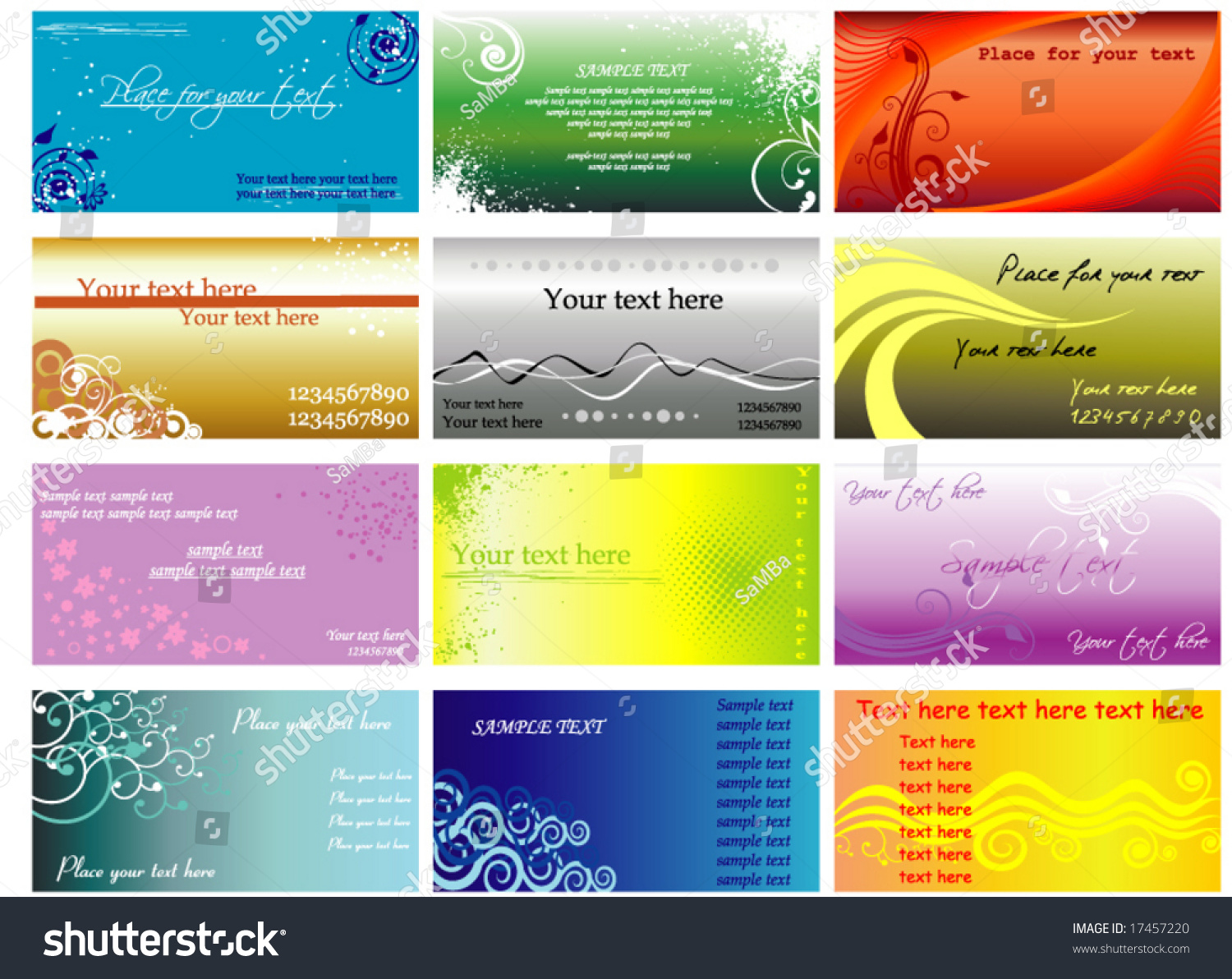 Colorful Horizontal Business Cards Flayers Stock Vector 17457220 ...
