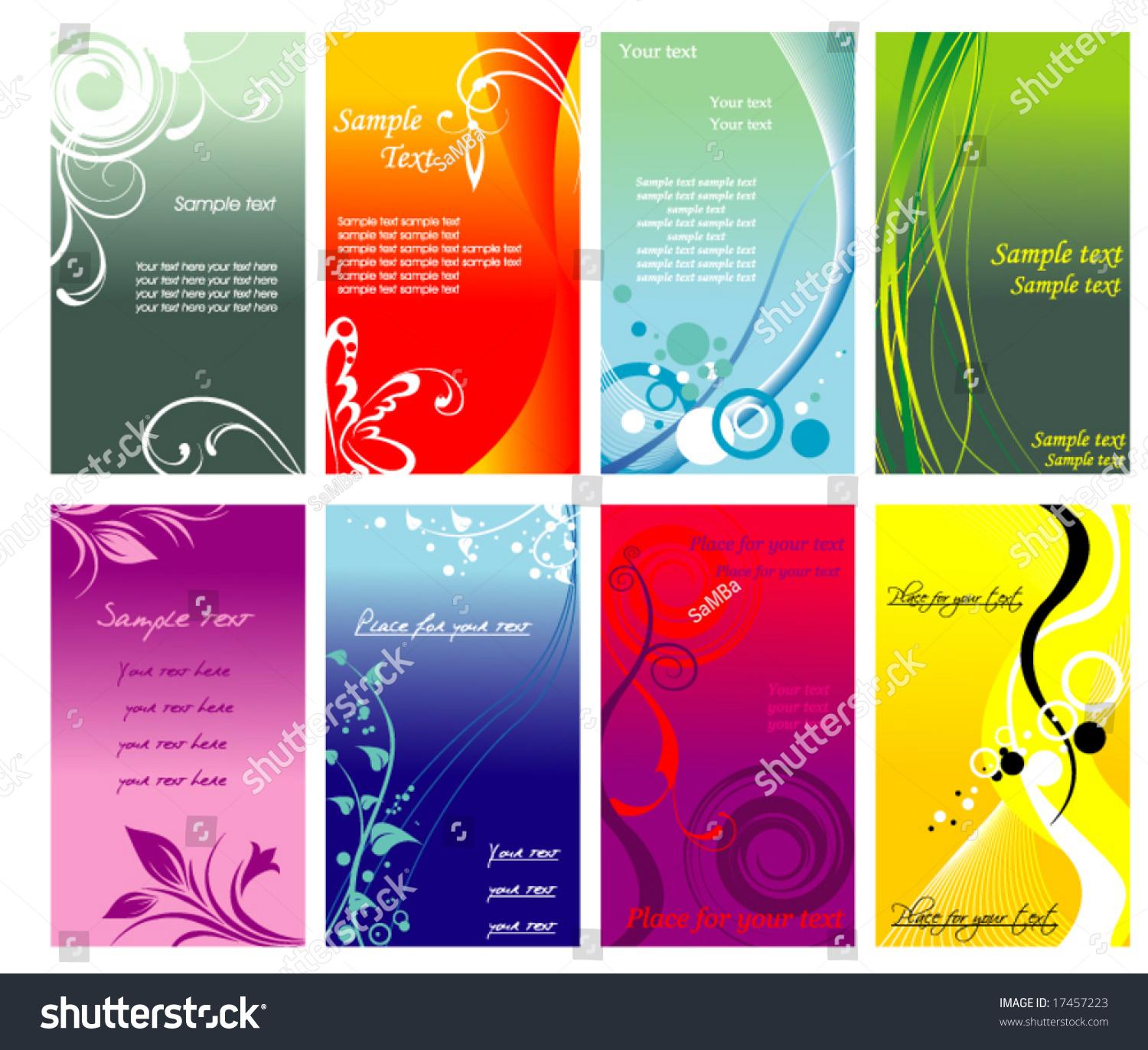 Colorful Vertical Business Cards Flayers Stock Vector 17457223 ...