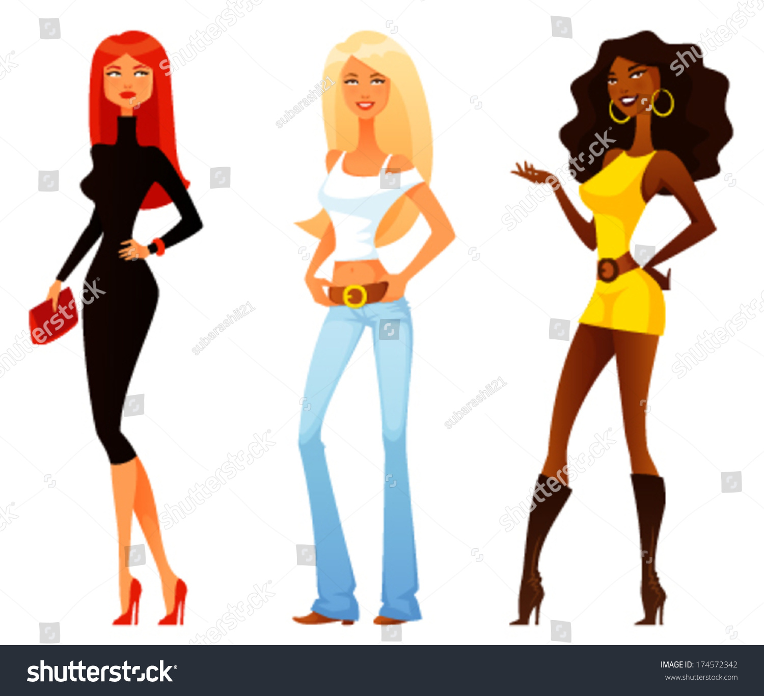 Funny Cartoon Girls Various Fashion Style Stock Vector 174572342 Shutterstock