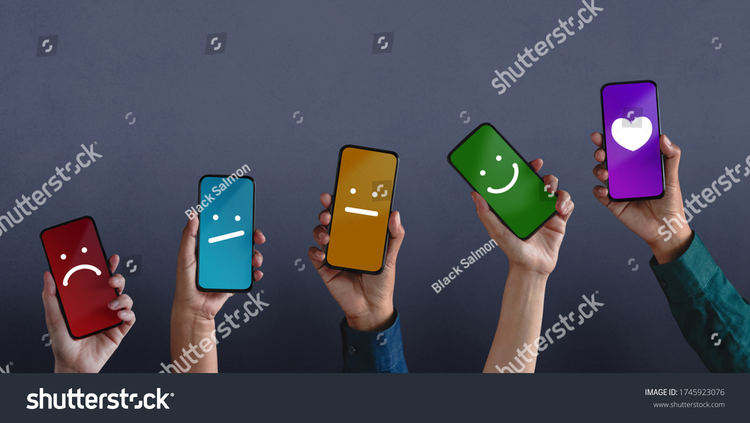 Customer Experiences Concept. Group of Diversity People Giving Feedback via Mobile Phone, from Negative to Positive Review. Poor to Excellent. Client's Satisfaction Surveys on Mobile Phone #1745923076