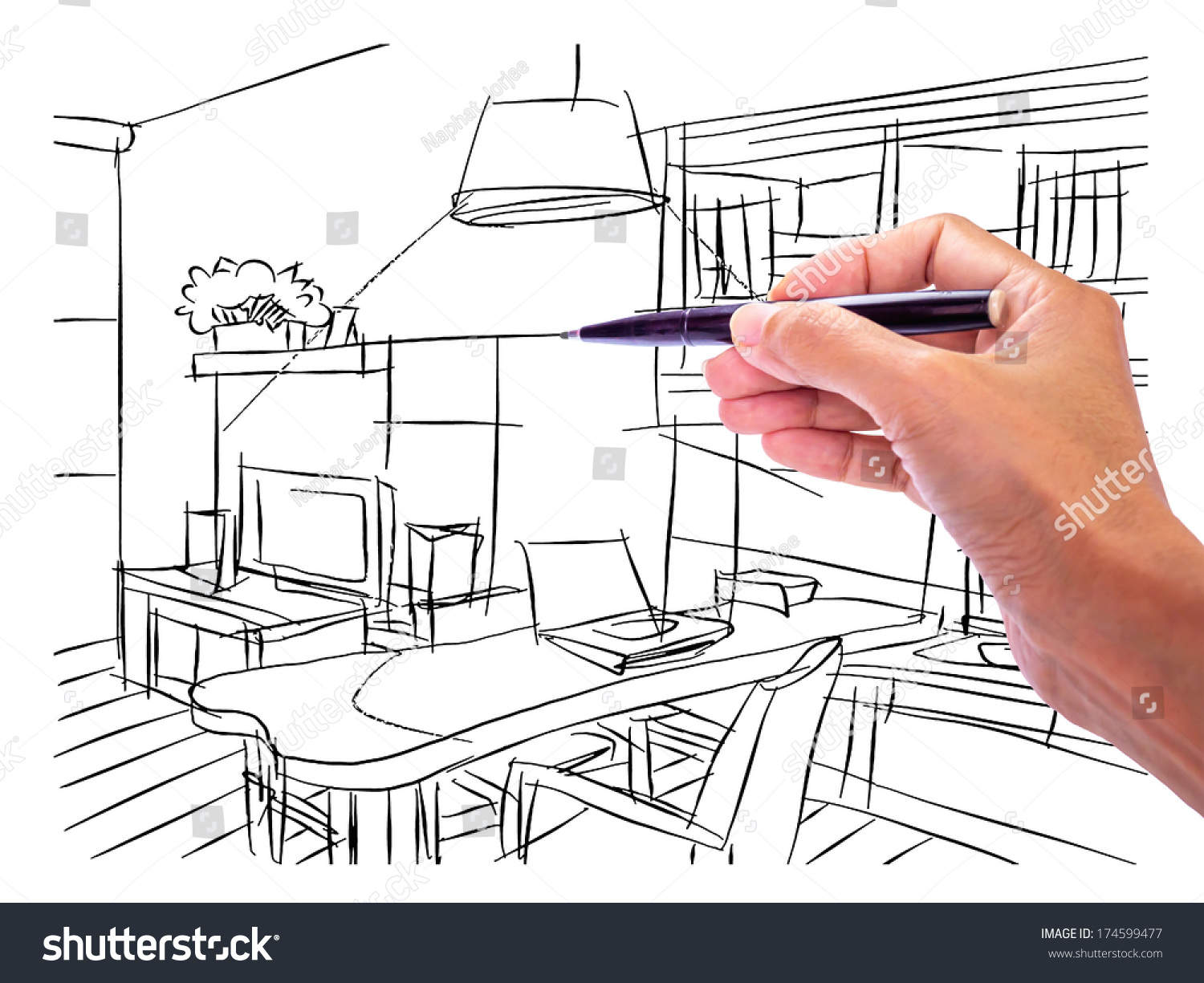 Living room perspective drawing - Designers Hand Drawing Interior Perspective Modern Stock Photo