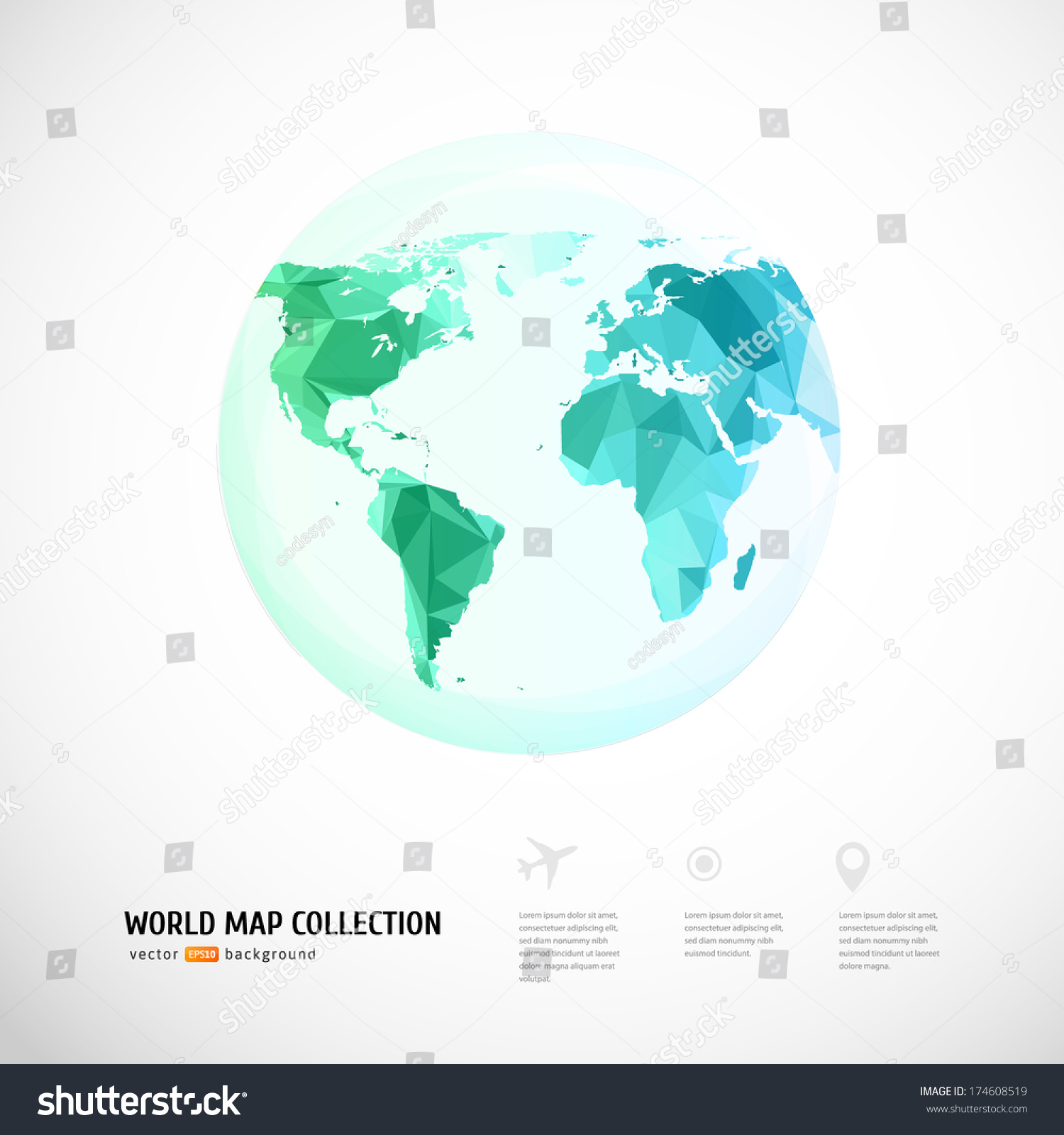 Vector world map triangle set vectores en stock 174608519 shutterstock vector world map triangle set gumiabroncs Image collections