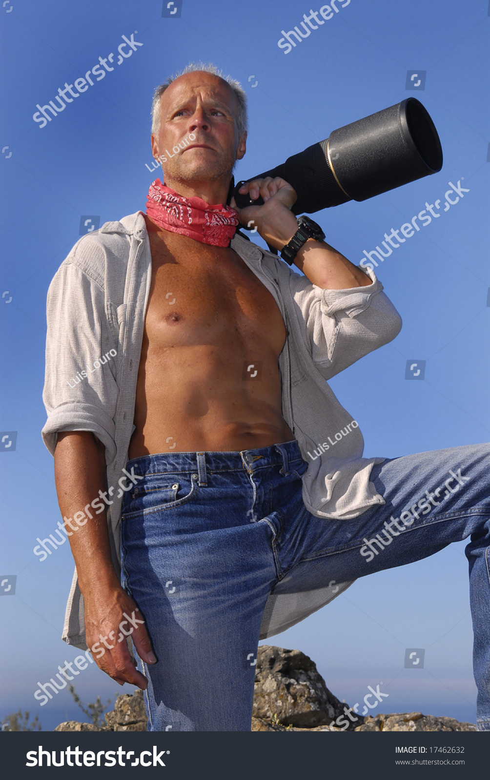 handsome mature model posing big camera stock photo 17462632