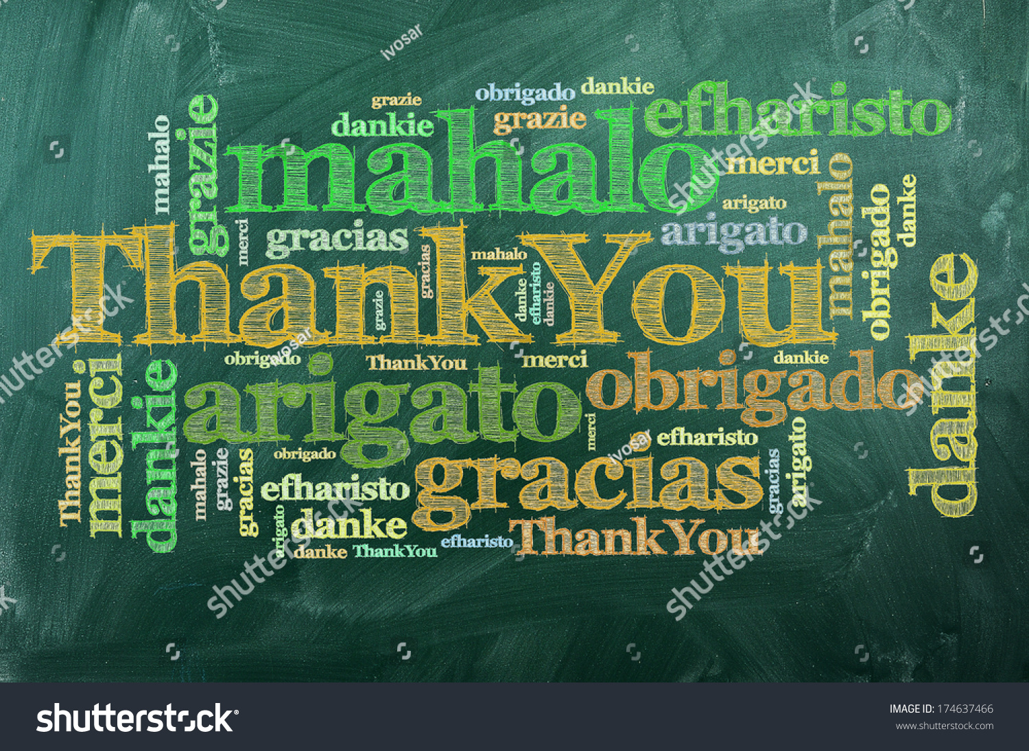 Thank you in different languages on green chalkboard stock for Green in different languages