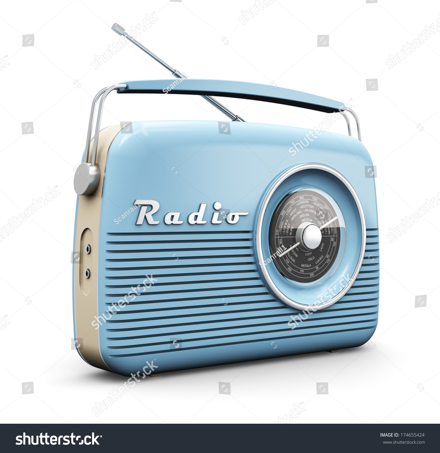 old blue vintage retro style radio receiver isolated on white background stock photo 174655424. Black Bedroom Furniture Sets. Home Design Ideas