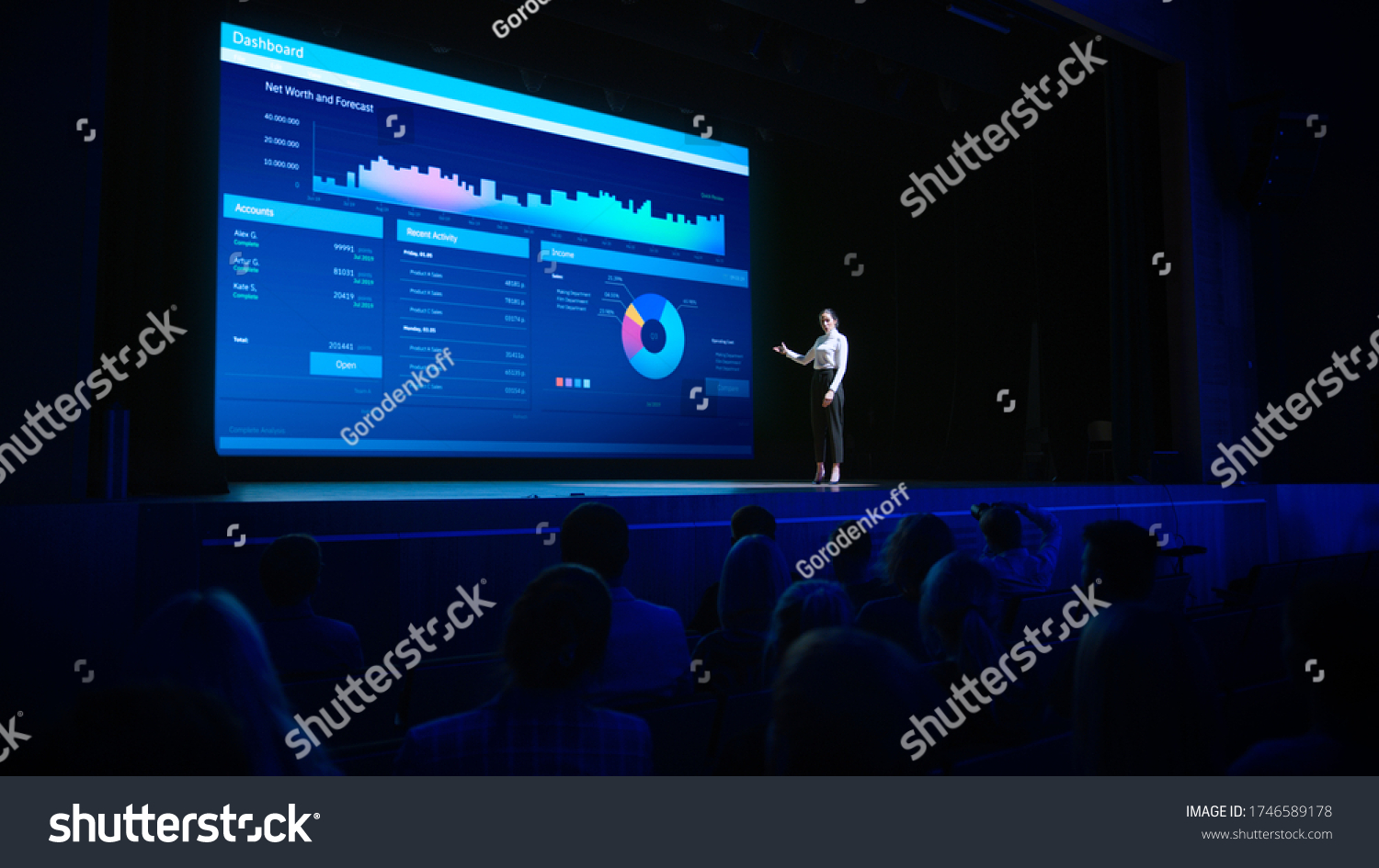 Business Forum Economics Conference Stage: Visionary Female Chief Analyst Delivers Speech and Shows Infographics, Statistics on Movie Theater Screen. Presentation with Speaker in Full Auditorium Hall #1746589178