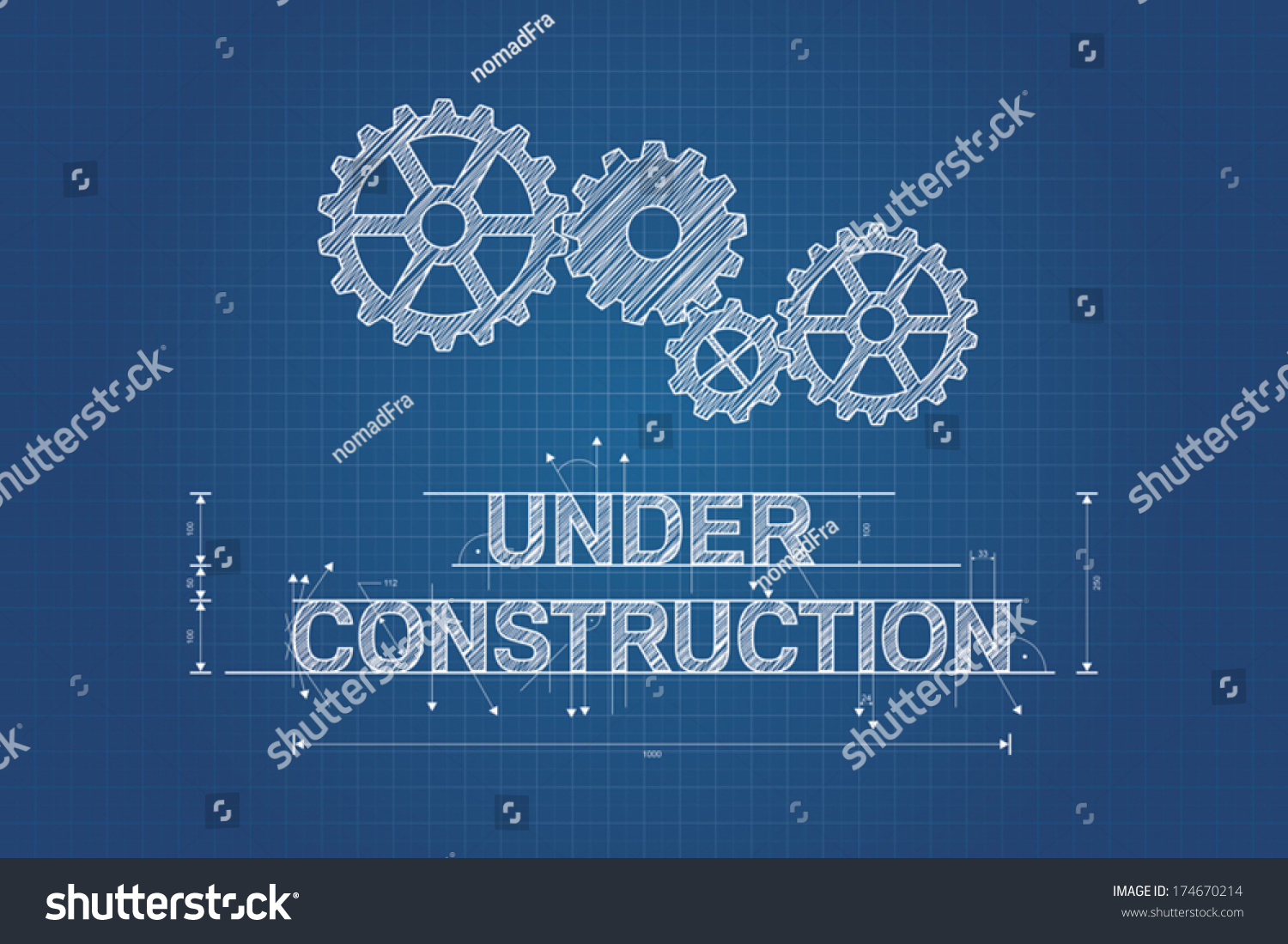 Under construction blueprint  technical drawing with gear wheel  Vector  design. Under Construction Blueprint Technical Drawing Gear Stock Vector