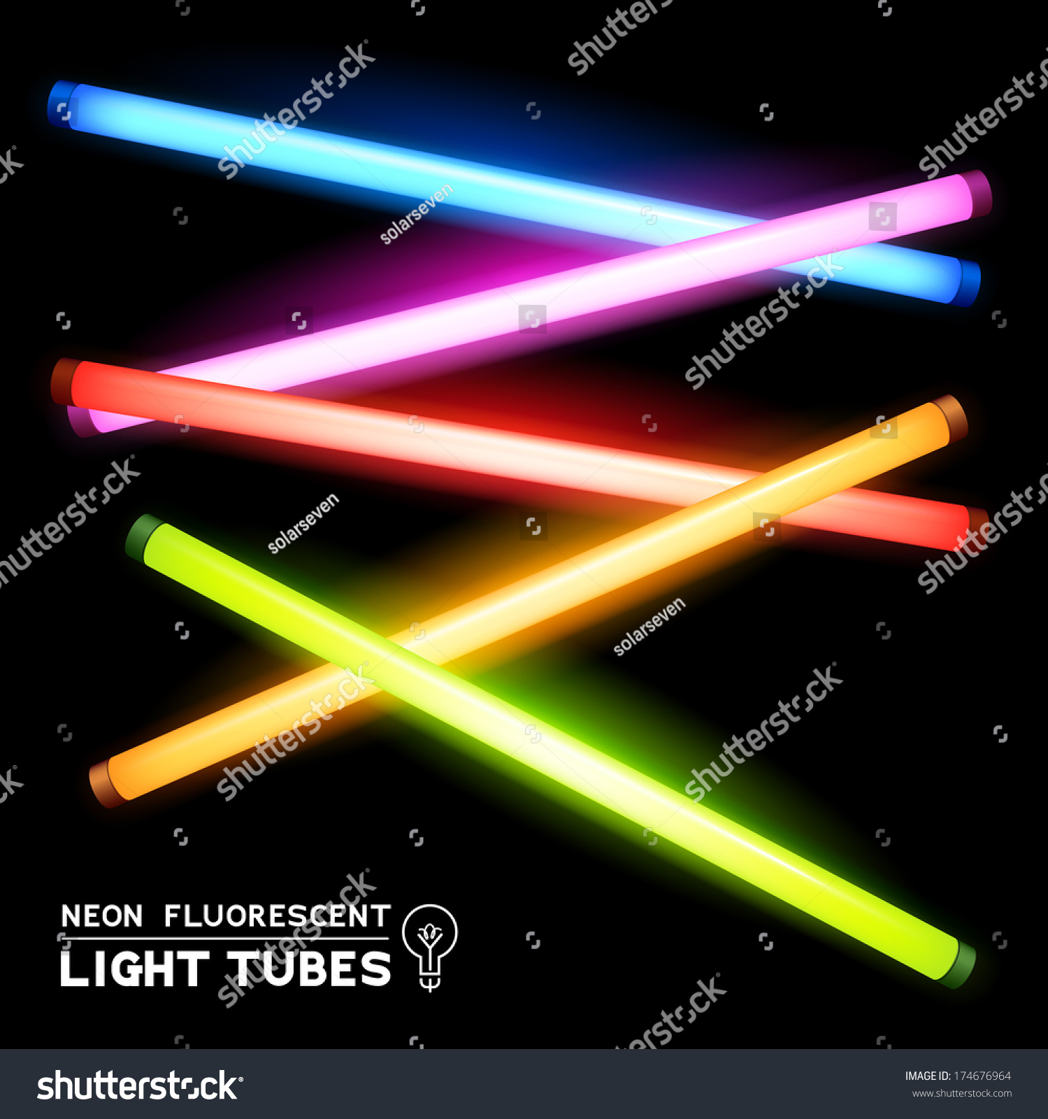 Fluorescent Light Elements: Neon Fluorescent Light Tubes Vector Light Stock Vector