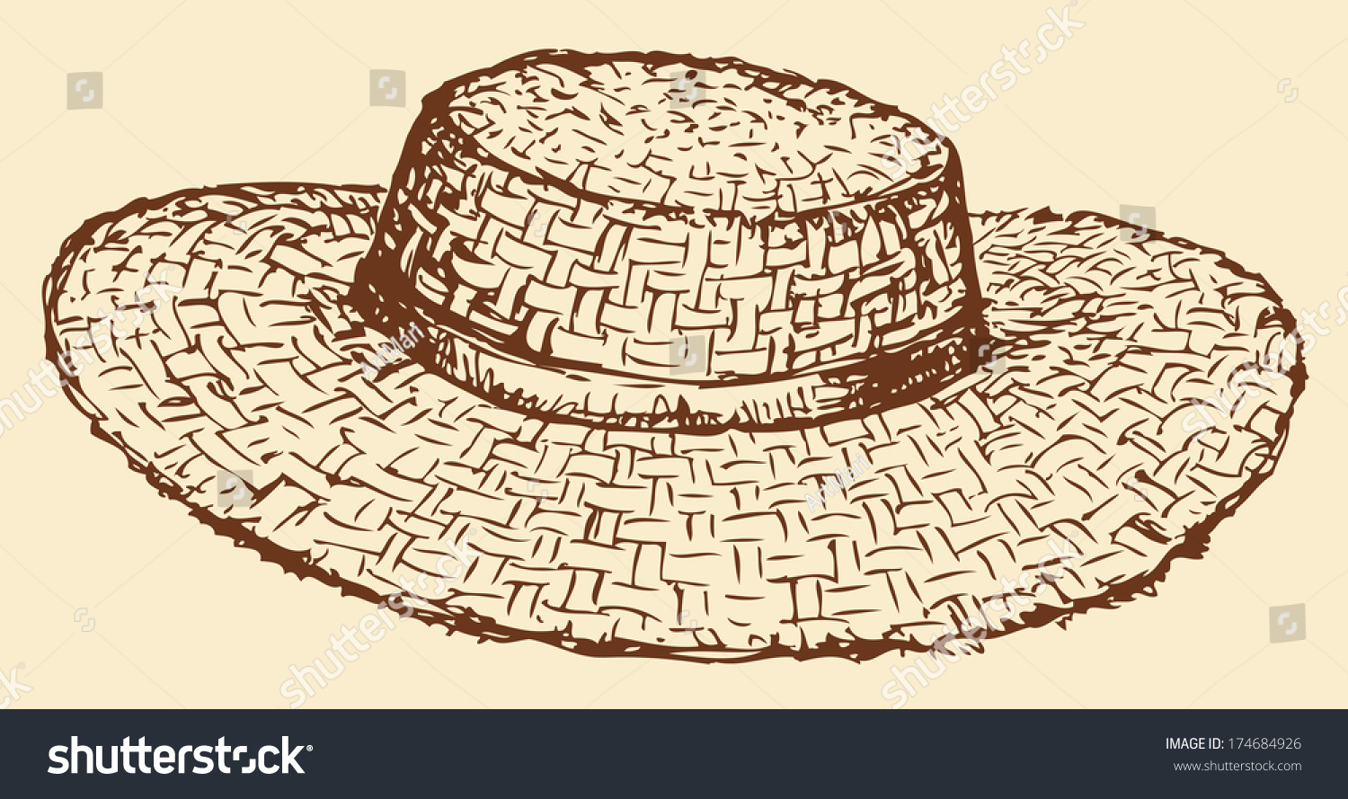 Line Drawing Hat : Vector monochrome line drawing of a straw hat