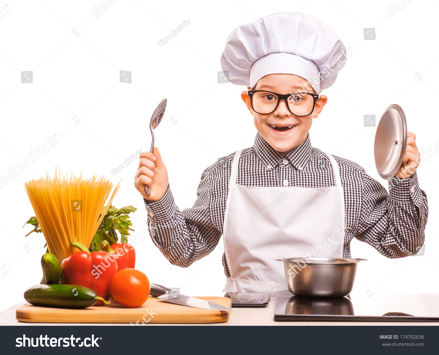 Kid Chef Cooking Kitchen Stock Photo (Download Now) 174702638 ...