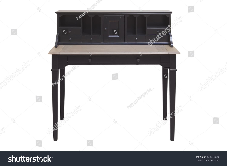 Antique hard wood writing desk secretary stock photo