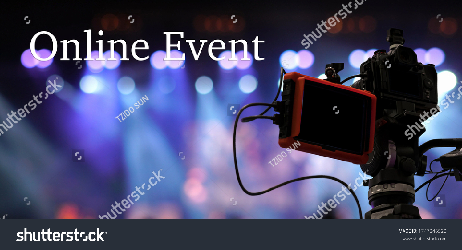 Online Event text over Video Camera recording online webinar or concert via social network or television production broadcast in new normal,Offline is over,covid outbreak,e-learning and online seminar #1747246520