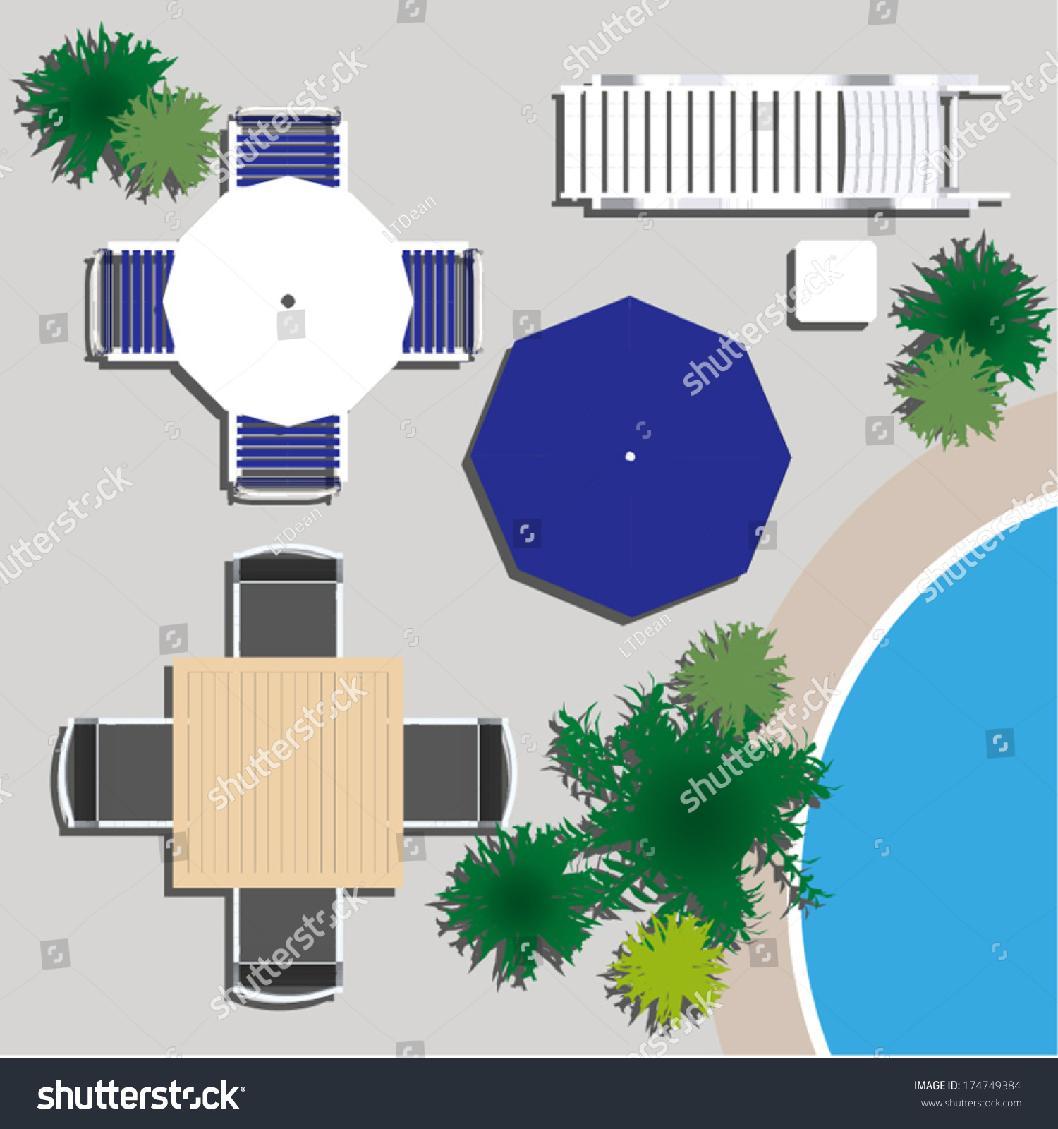 Patio table and chairs top view - Outdoor Furniture For Landscape Design