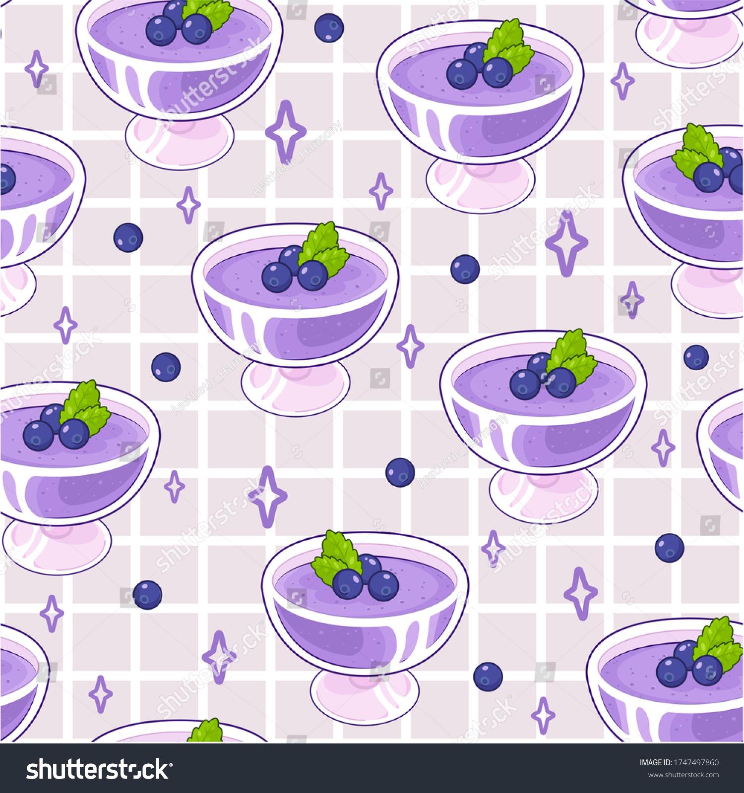 Seamless Berry Dessert Pattern Background Wallpaper Stock Illustration 1747497860