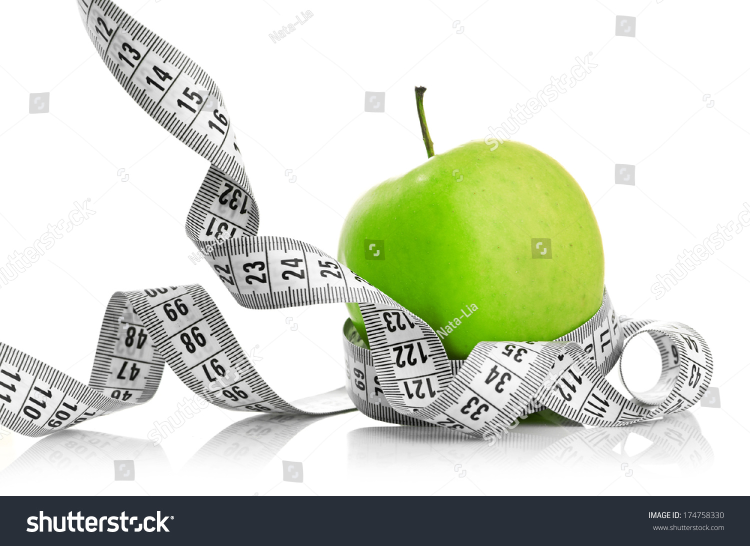 Measuring Tape Wrapped Around Green Apple Stock Photo 174758330