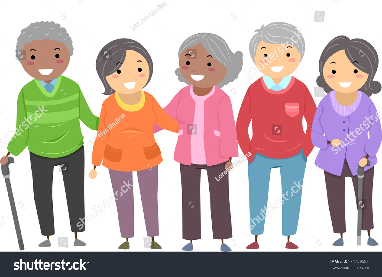 Illustration Group Senior Citizens Huddled Together Stock ...