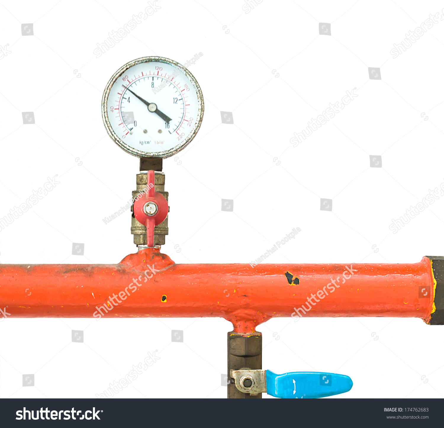 Gas Measuring Instruments : Instrument gas pressure measurement stock photo