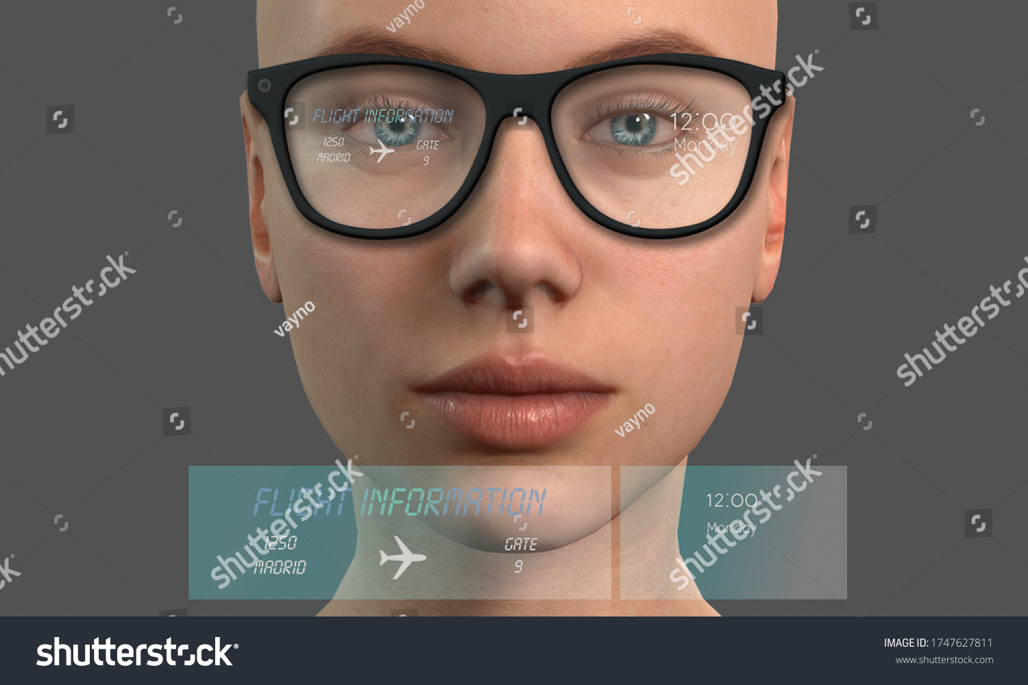 New modern smart glasses.Smart glasses and augmented reality concept. Woman wearing modern glasses with futuristic screen. Virtual technology.  3d illustration .