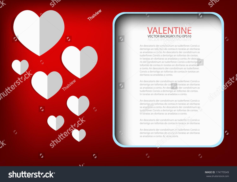 Valentine Card Background White Heart Paper Vector 174779549 – Valentine Card Background
