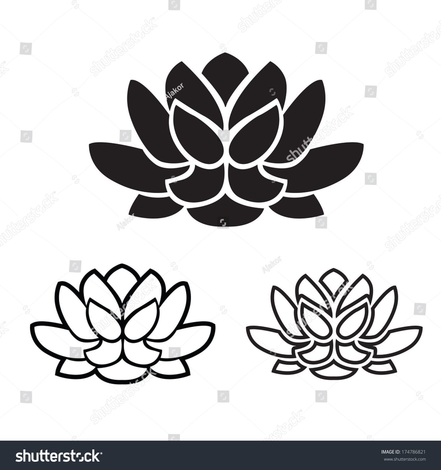 Symbol yoga lotus flower graphic vector stock vector 174786821 the symbol of yoga lotus flower graphic vector illustration izmirmasajfo