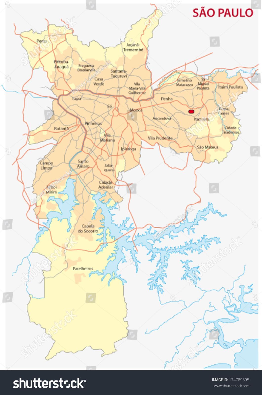 Sao Paulo Map Stock Vector Royalty Free 174789395