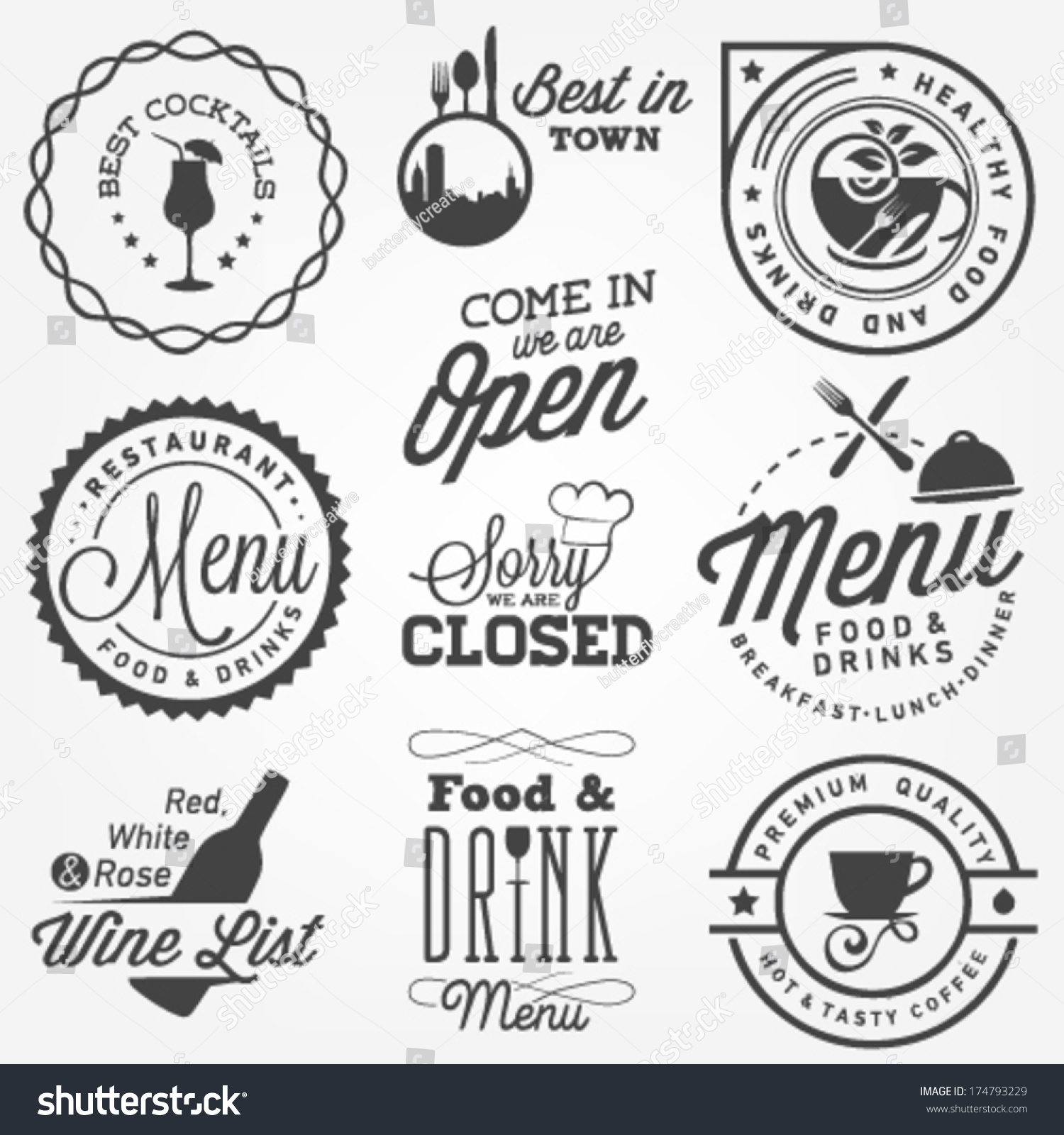 Collection of restaurant menu design elements in vintage
