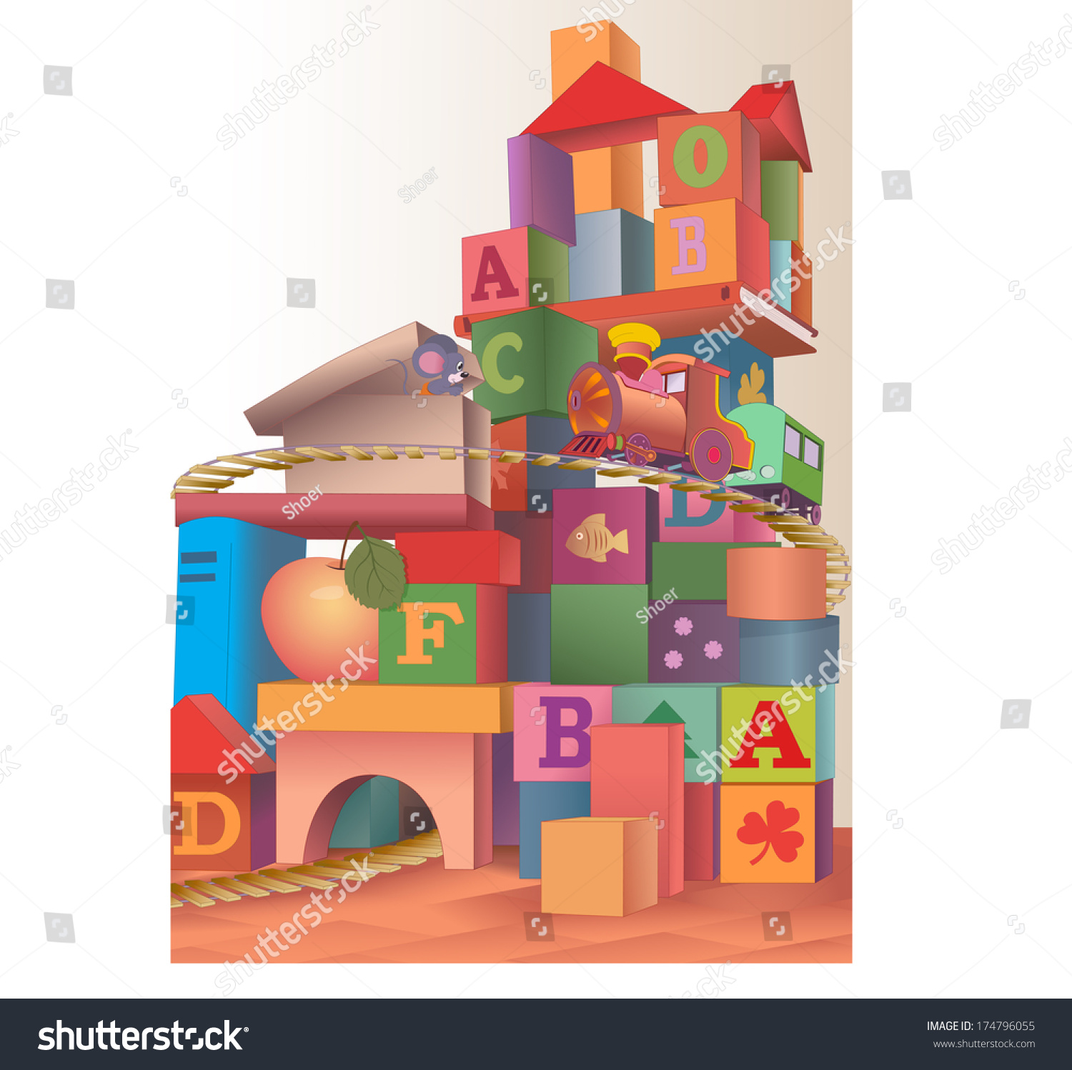 Construction Play Toys : Illustration large construction various items toys stock