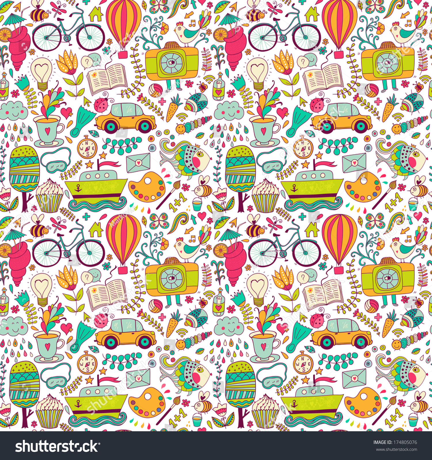 Romantic vector seamless background greeting card wallpaper vector art - Vector Seamless Pattern Childish Doodles Pattern Set Of Different School Travel