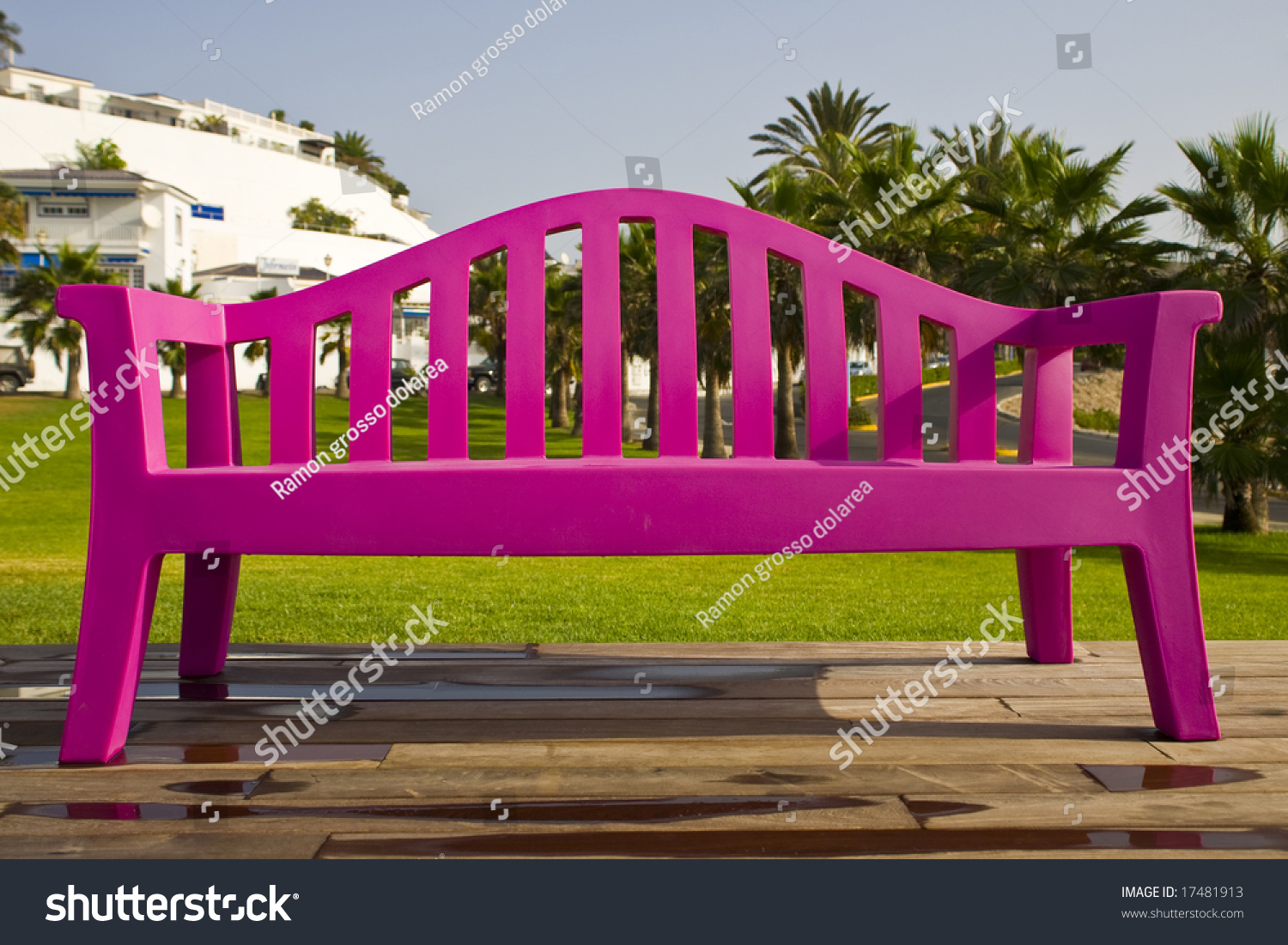 Solitaire Plastic Pink Bench On A Park With Wood Stand