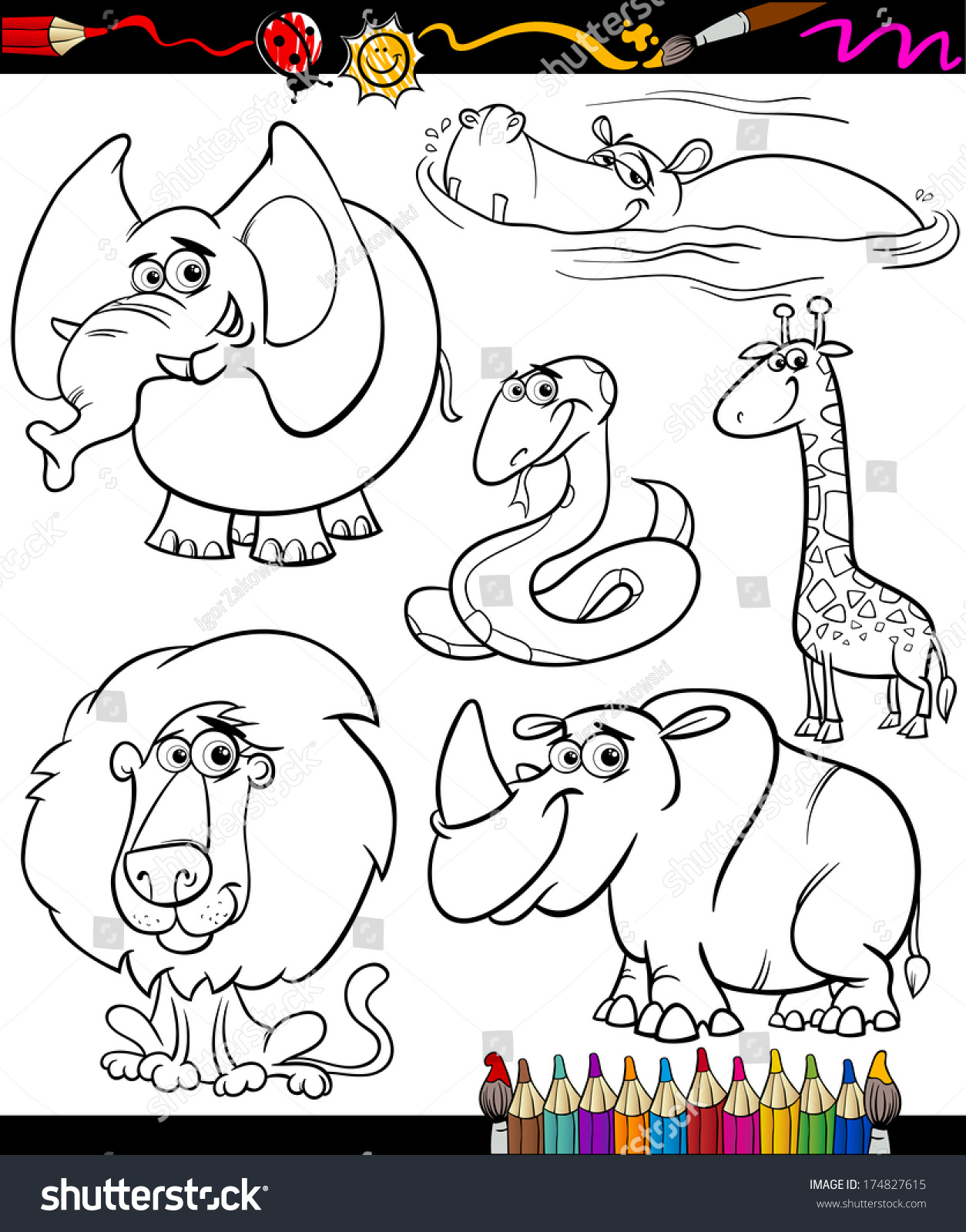 stock vector coloring book or page cartoon vector illustration set of black and white wild animals characters