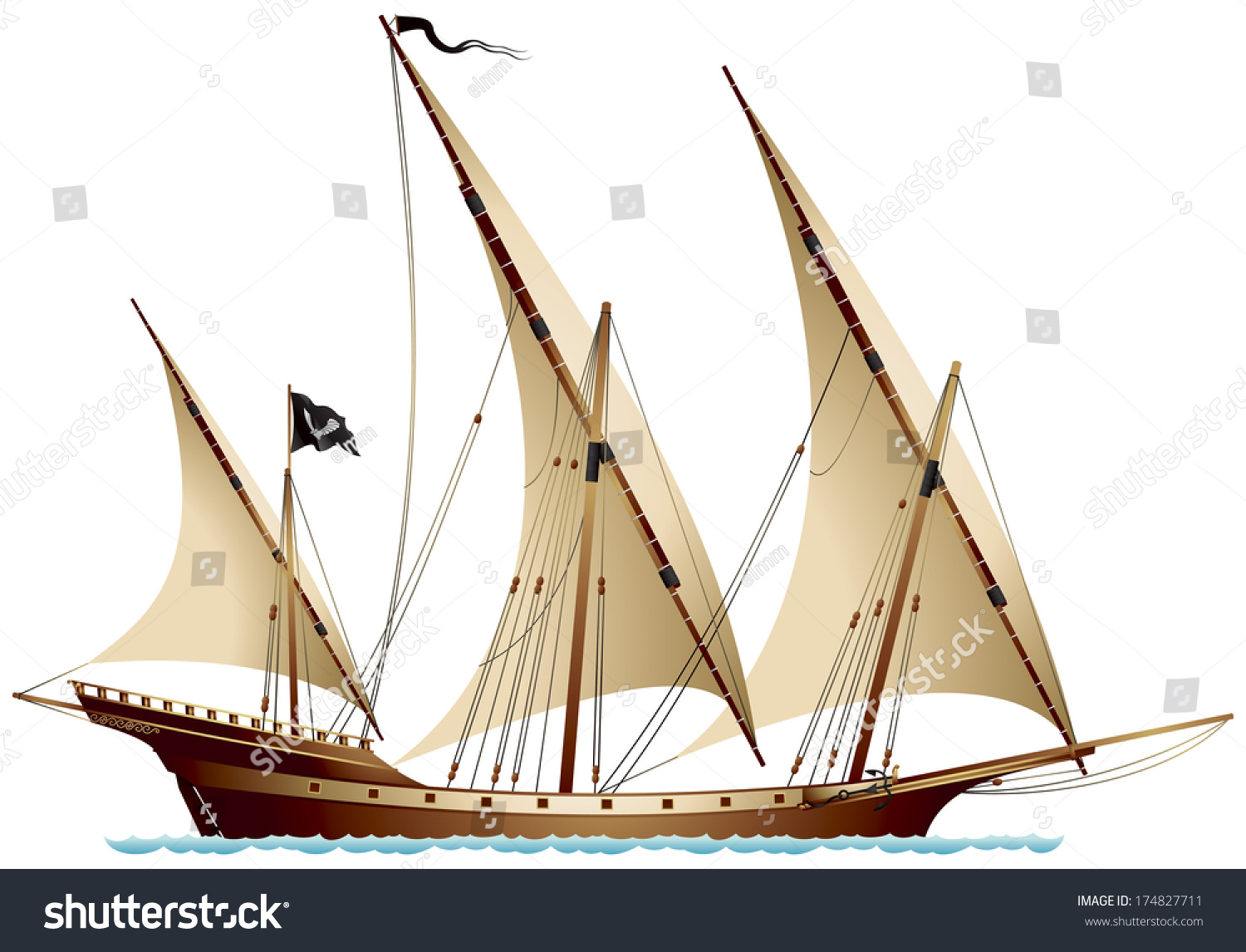 Pirate Ship Xebec Sailing Ship Under Stock Vector ...