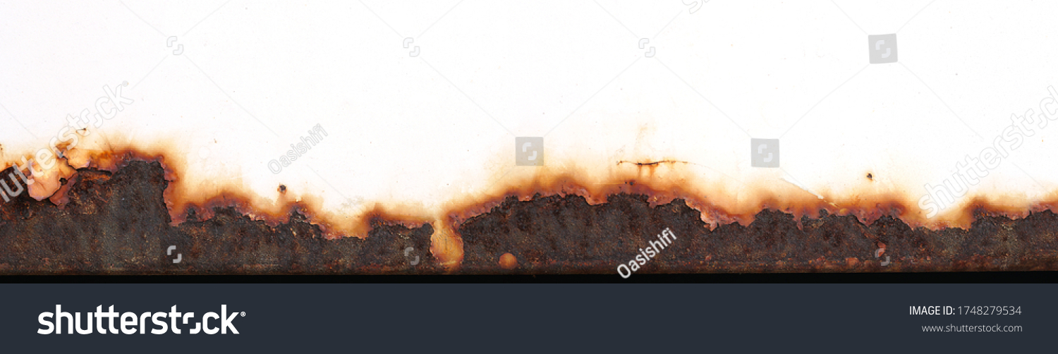 Rust of metals.Corrosive Rust on old iron white.Use as illustration for presentation.Background rusty texture as a panorama.  #1748279534
