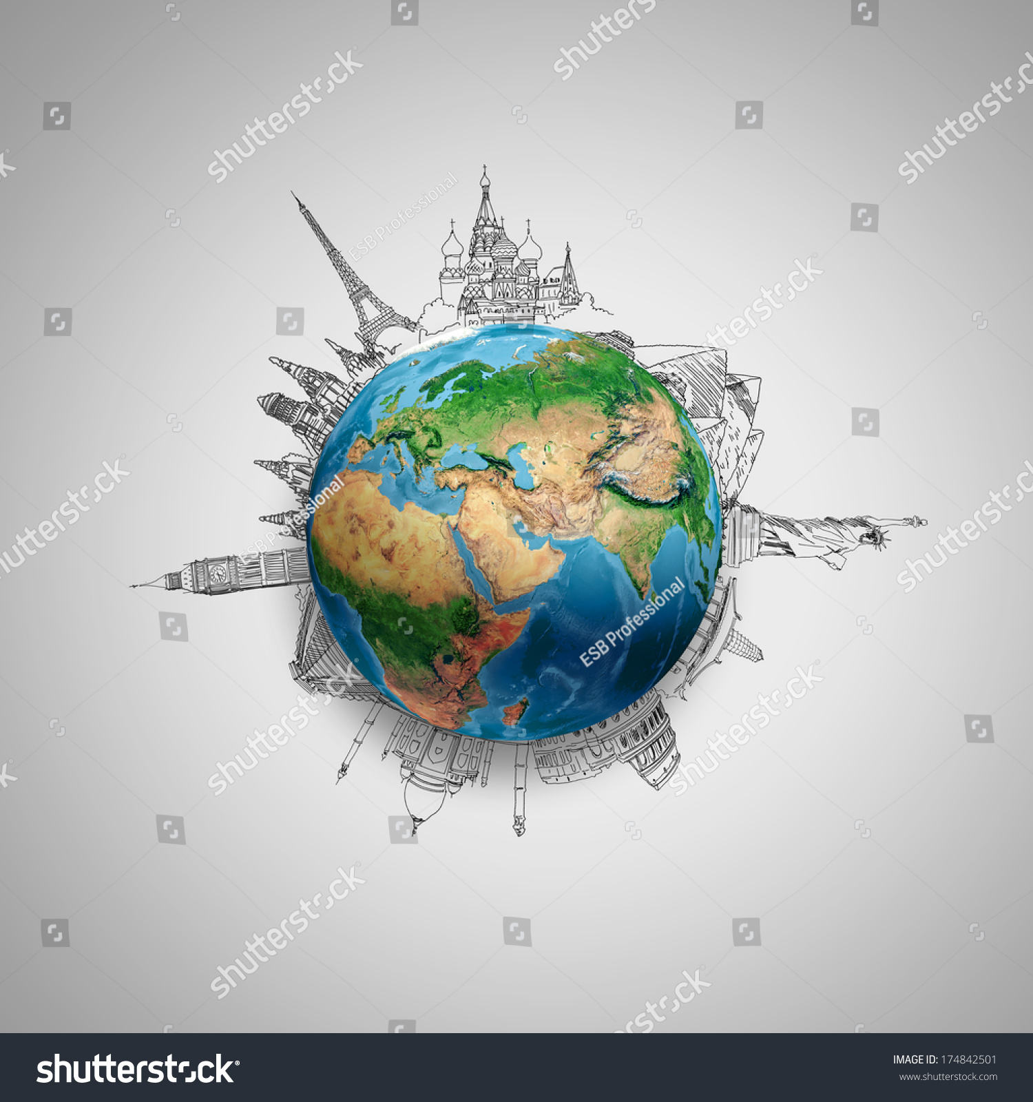 Earth Planet On Grey Background Pencil Stock Illustration ...