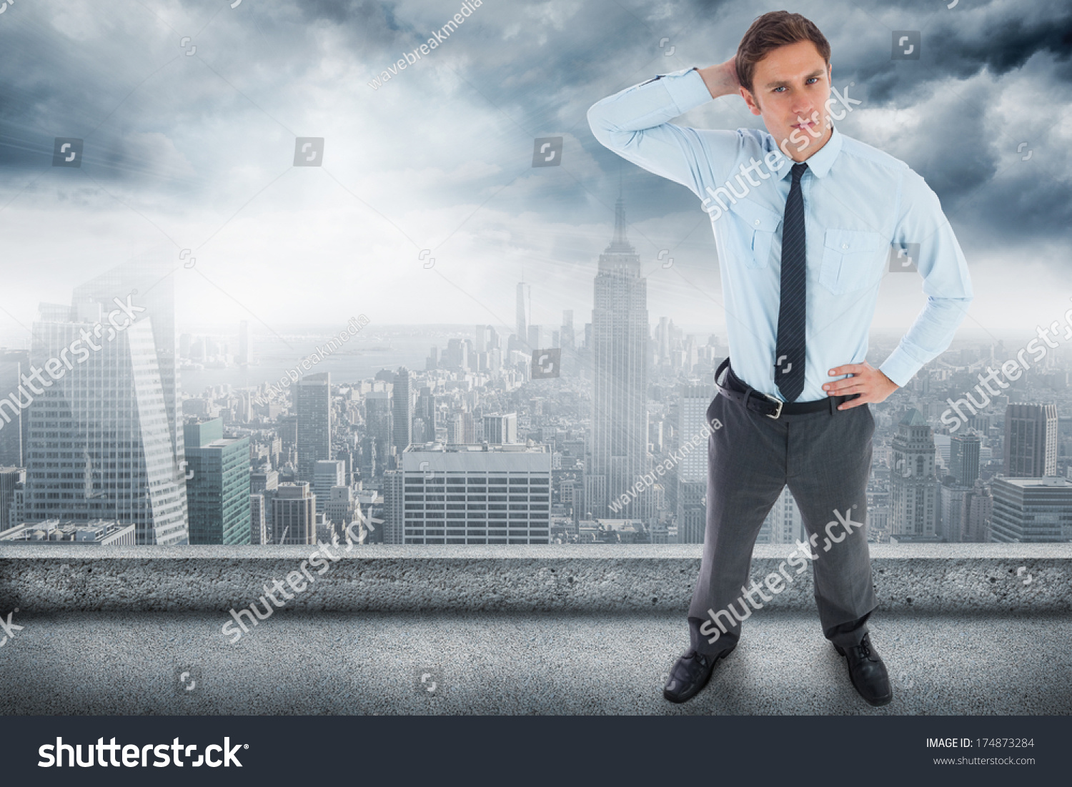 Thinking businessman hand on head against stock photo for Balcony overlooking city