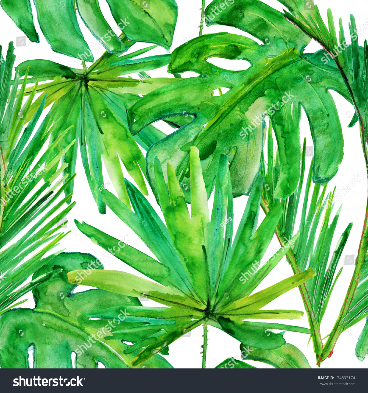 Tropical Leaves Seamless Watercolor Background Stock