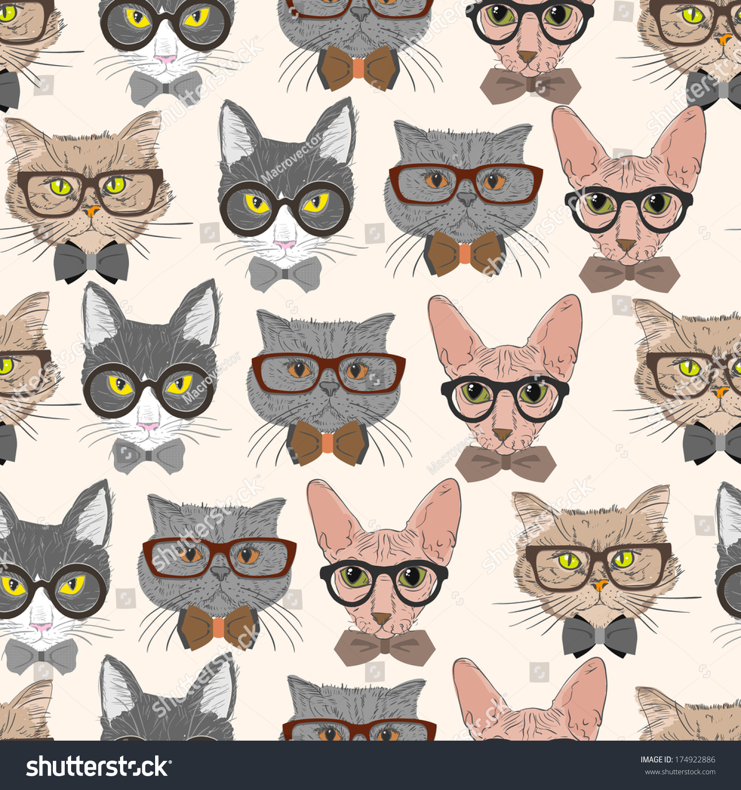seamless hipster cats pattern background illustration