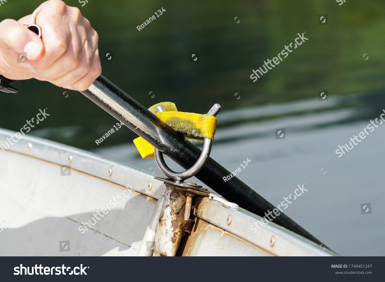 stock-photo-oar-lock-on-a-row-boat-with-