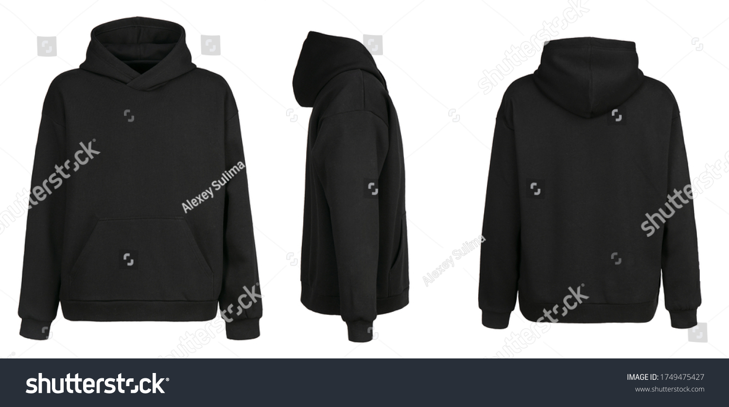 Blank black hoodie template. Hoodie sweatshirt long sleeve with clipping path, hoody for design mockup for print, isolated on white background. #1749475427