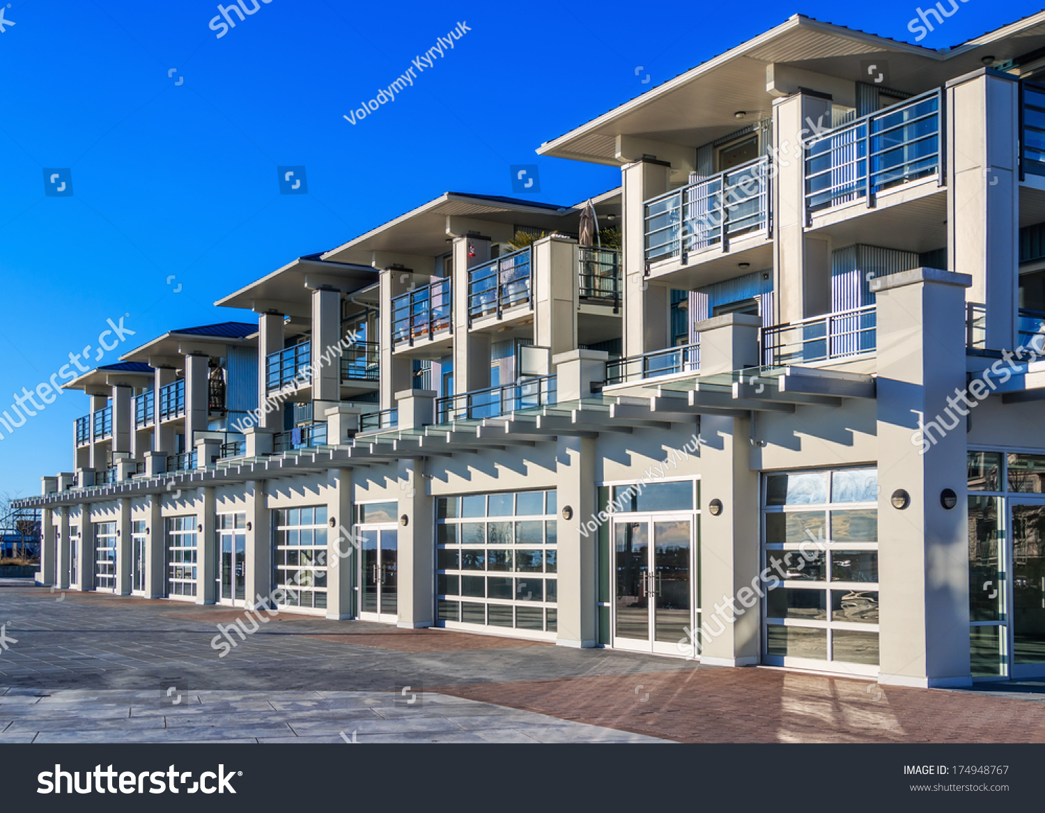 Architectural Details Modern Apartment Building Stock