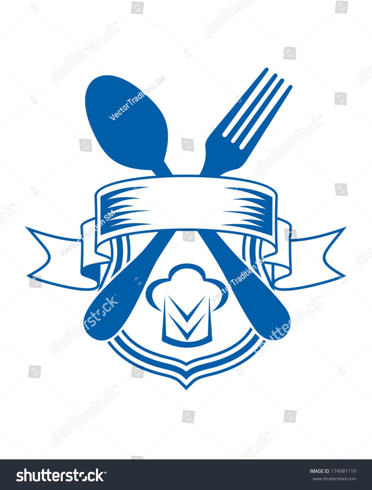 Cartoon Illustration Restaurant Caterers Emblem Logo Stock Vector