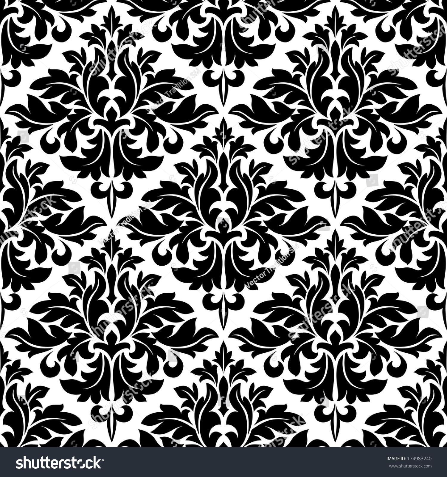 black white floral arabesque pattern geometric stock