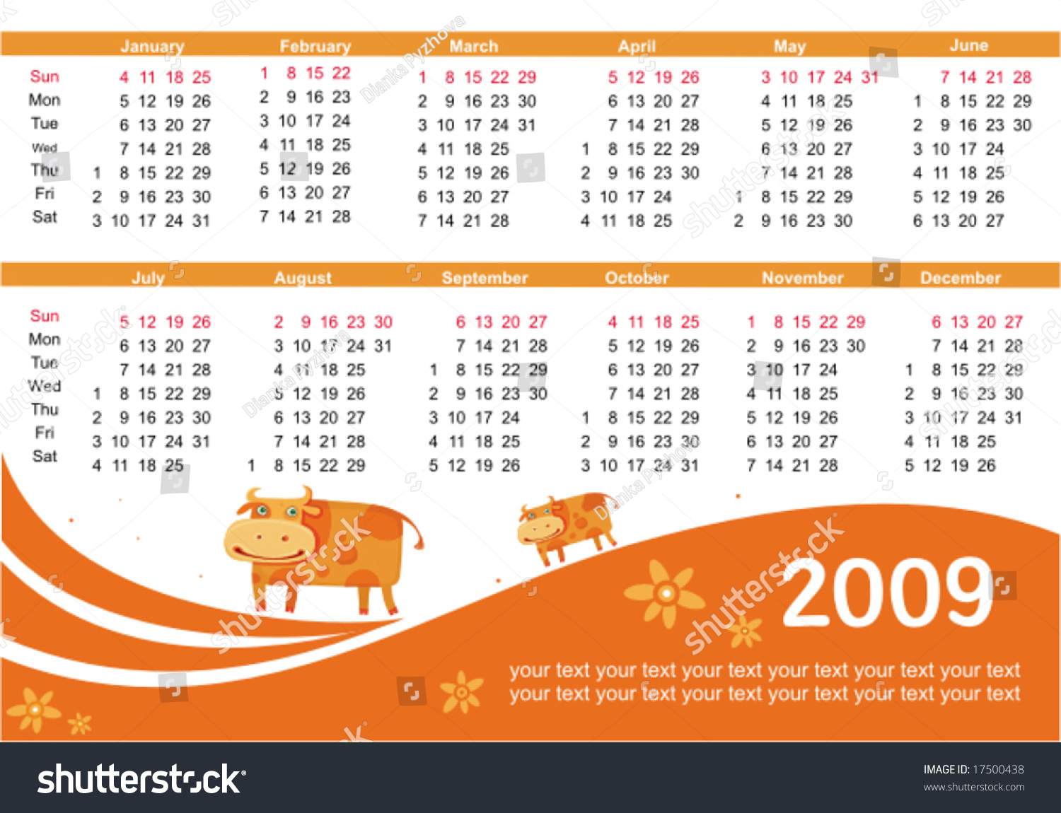2009 calendar cow symbol 2009 year stock vector 17500438 2009 calendar with cow symbol of 2009 year starts sunday buycottarizona