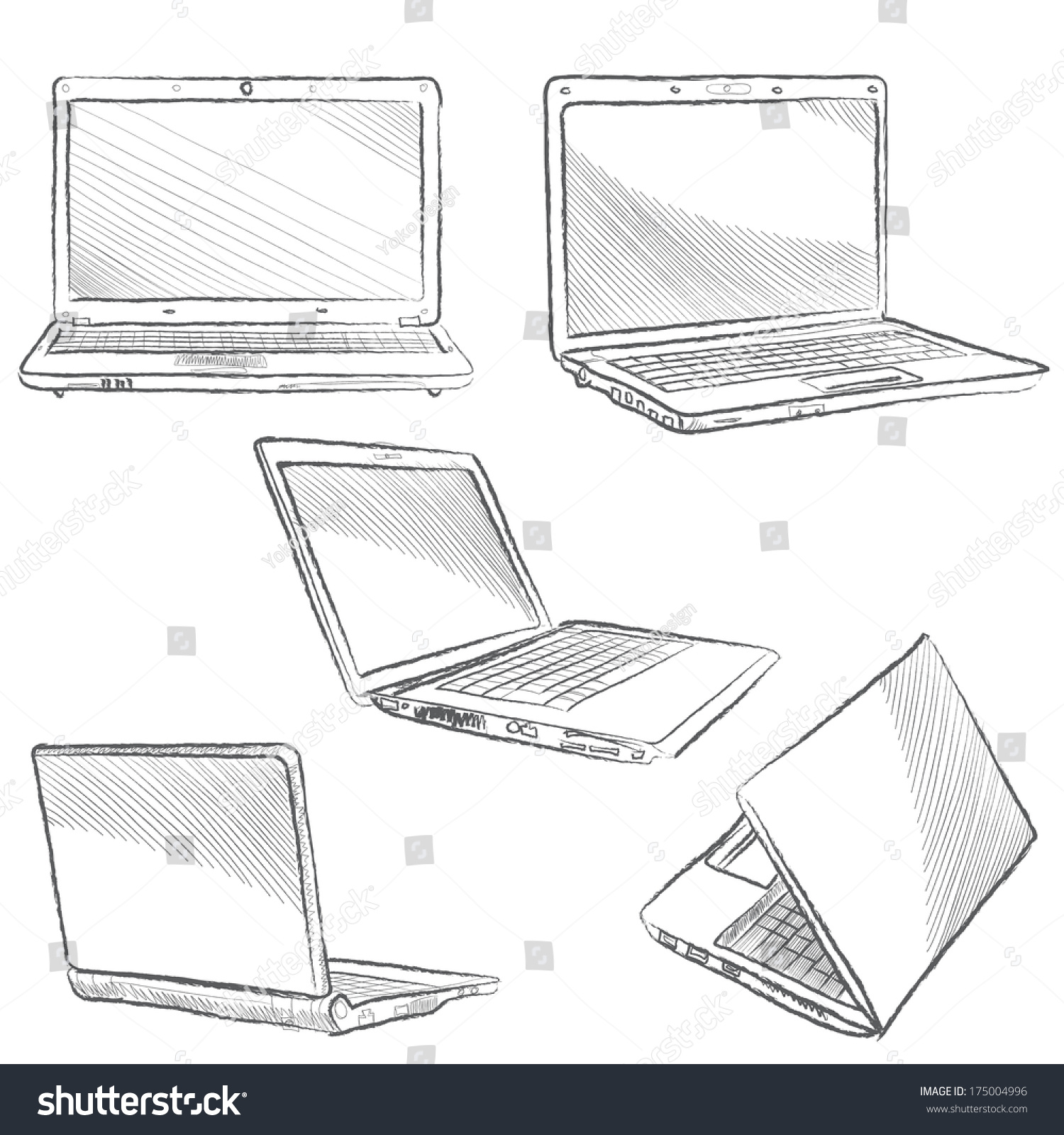 Laptop Set Computer Sketch Hands Sketch Vector