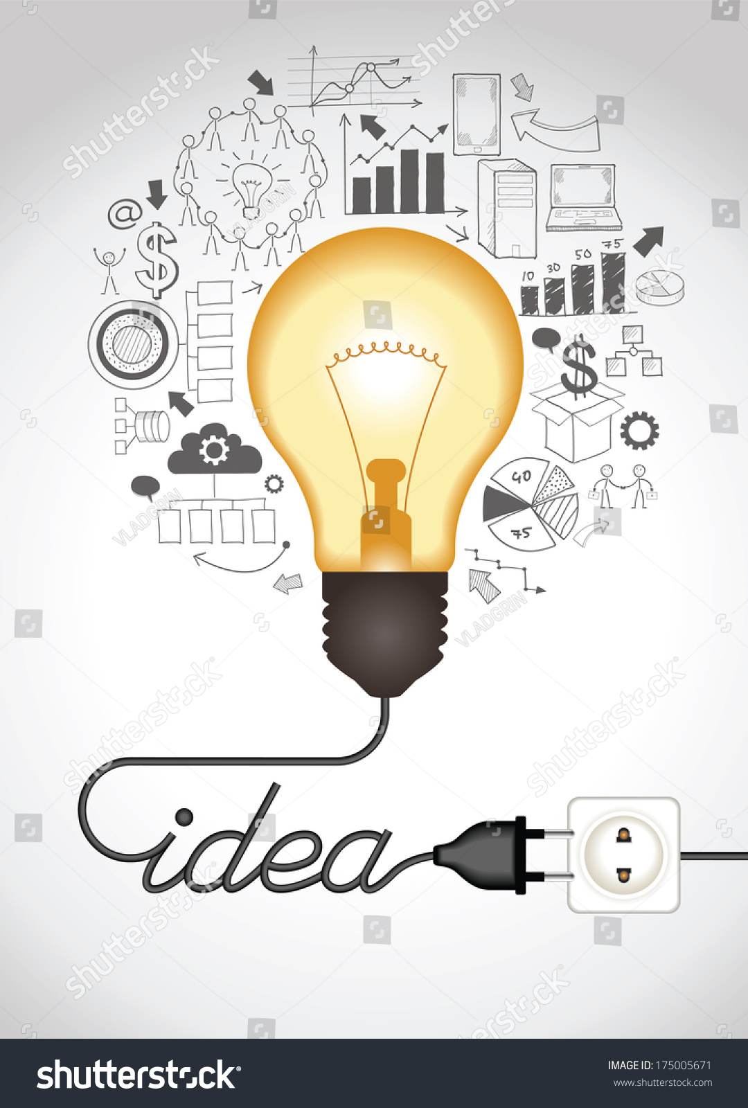 concept of productive business ideas lightbulb with drawing graphics around lamp is plugged - Graphic Design Business Ideas