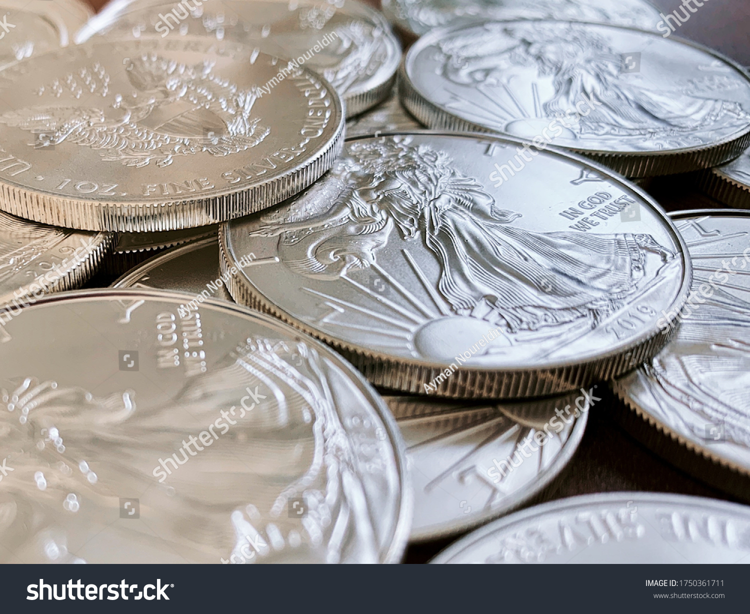 Set of American silver eagle coins, highlight the lady liberty side of the silver coin #1750361711